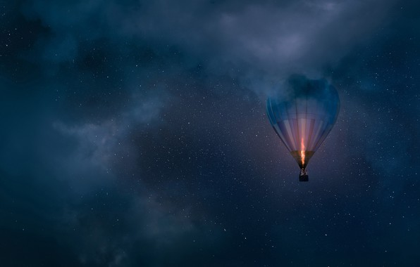 Picture the sky, clouds, night, balloon, stars, balloon