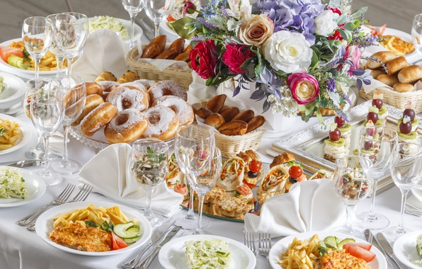 Picture flowers, table, meat, donuts, potatoes, serving, cuts, snacks