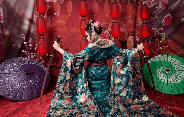Picture girl, umbrellas, swords