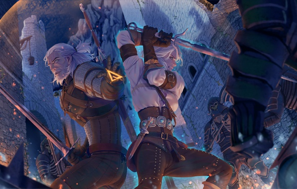 Picture art, the Witcher, art, illustration, witcher, Geralt, geralt, swords, the wild hunt, wild hunt, the …