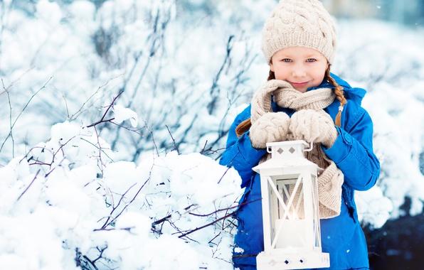 Picture winter, hat, child, jacket, girl, lantern, winter, snow, child, lamp