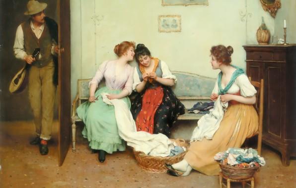Picture Portrait, academic classicism, Friendly gossip, Blas de eugène, ordinary themes
