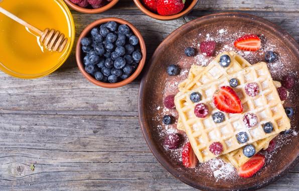 Picture berries, raspberry, food, blueberries, strawberry, honey, dessert, waffles, powdered sugar