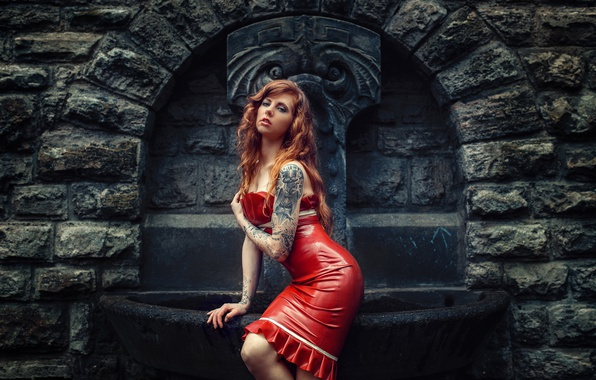 Picture girl, pose, style, model, tattoo, latex, fountain, red, red dress, redhead, Julia Wendt