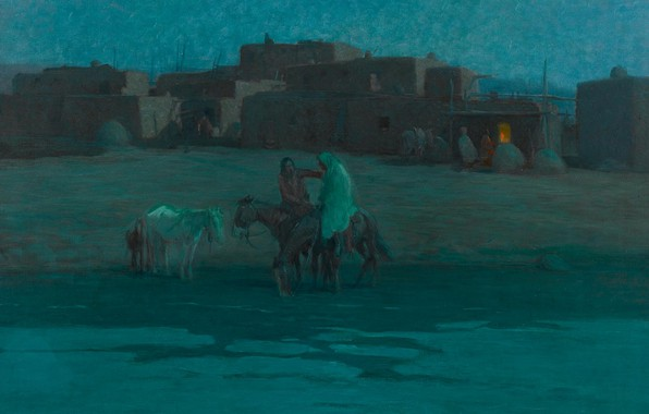 Picture home, the evening, horse, Oscar Edmund Berninghaus, Twilight Taos Pueblo