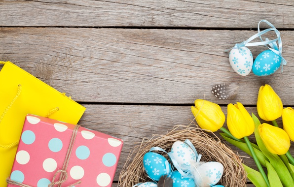 Photo wallpaper Easter, tulips, yellow, wood, tulips, spring, Easter, eggs, decoration, Happy, tender