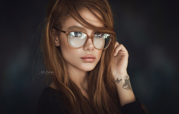 Picture pose, background, portrait, makeup, tattoo, glasses, hairstyle, brown hair, beauty, photoshoot, in black, bokeh, Falak …