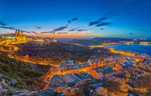 Wallpaper Sea Landscape Lights Home Panorama Malta
