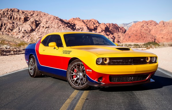 Photo wallpaper style, road, Dodge Challenger, design
