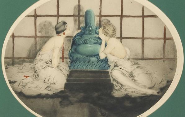 Picture statue, 1926, Louis Icart, art Deco, etching and aquatint, Secret