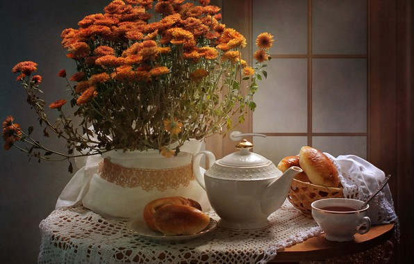 Picture flowers, table, background, tea, the door, spoon, Cup, still life, orange, chrysanthemum, cakes, tablecloth, teapot, ...