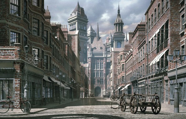 Photo Wallpaper The City Street Building Victorian THE GOOD OLD DAYS