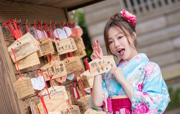 Picture girl, kimono, Asian