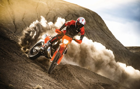 Picture Dust, Sport, Speed, Skid, Motorcycle, Racer, Moto, KTM, Bike, Moto, Motorbike