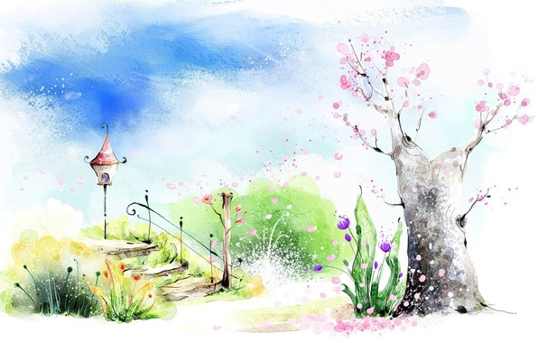 Picture greens, the sky, clouds, flowers, mood, figure, spring, art, watercolor, ladder, flashlight, picture, flowering tree
