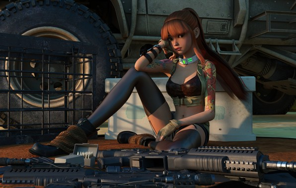 Picture girl, weapons, red