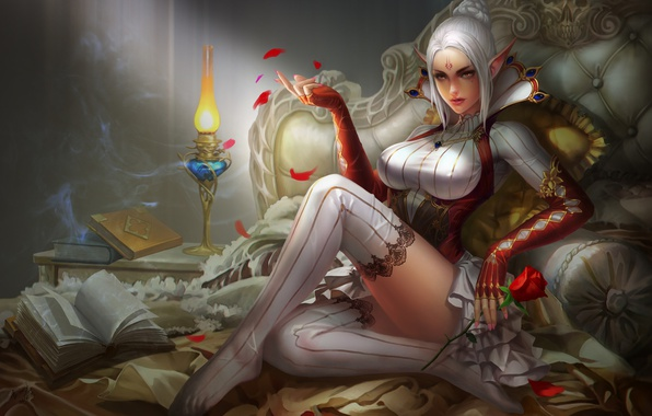 Picture girl, wine, glass, rose, fantasy, art, elf, bed, yunpeng li