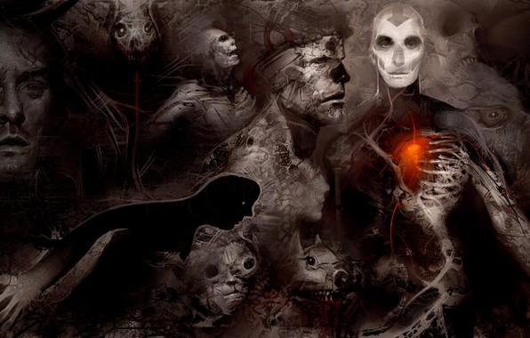 Picture heart, shadow, horor, psychedelic, self, Andrew Jones, Art_old