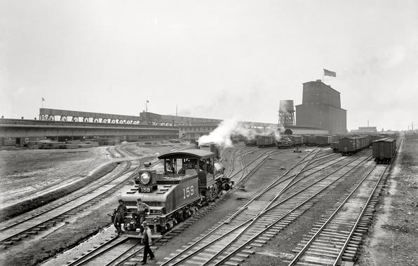 Picture retro, train, USA, New Orleans, Louisiana, 1900-the year, Elevator