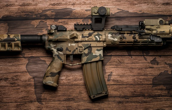 Picture background, American, AR-15, a semi-automatic rifle