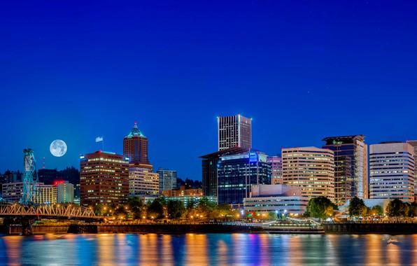 Picture night, the city, hdr, USA, usa, multi monitors, denver, ultra hd, Denver
