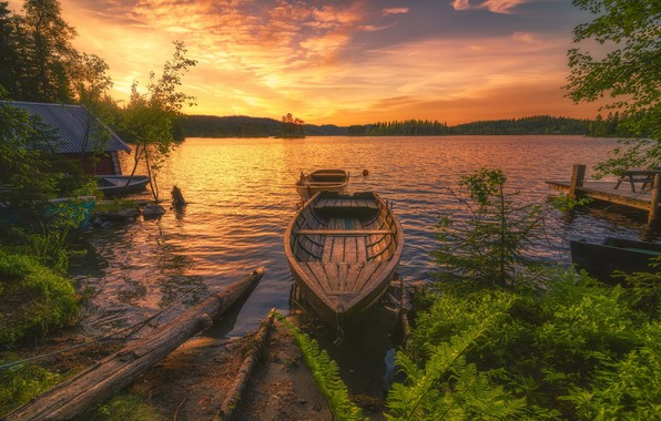 Picture landscape, sunset, boat