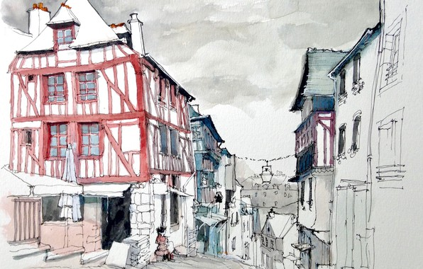 Picture the city, street, figure, France, home, watercolor, Dinan