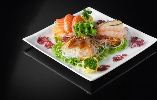 Photo wallpaper cutting, food, lemon, fish, seafood