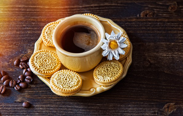 Photo wallpaper saucer, flower, drink, coffee, grain, cookies, Cup, table