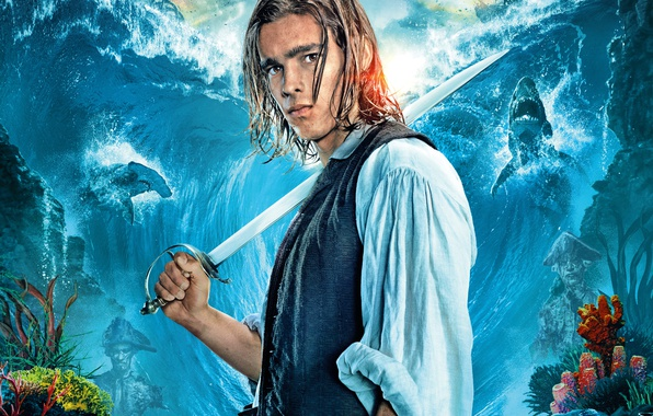Picture sea, wave, background, ships, fantasy, sharks, Pirates of the Caribbean, poster, saber, Henry, Brenton Thwaites, …