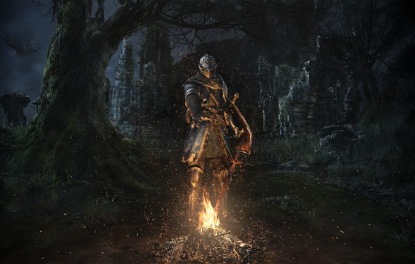 Picture Armor, The fire, Ruins, Sword, Armor, Knight, Dark Souls, Namco Bandai Games, From Software, Remastered, …