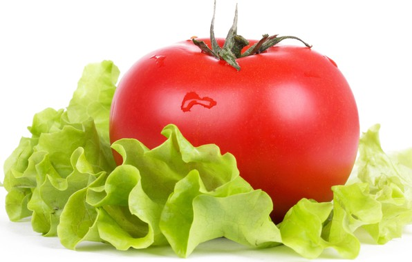 Picture greens, macro, freshness, tomato, water drops, salad, ripe fruit