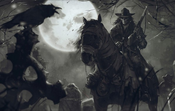 Picture night, weapons, skull, The moon, cemetery, rider, dead