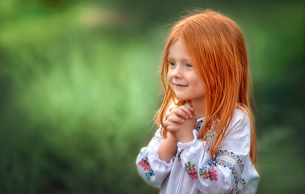 Picture joy, background, girl, red, redhead, embroidery