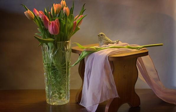 Picture tulips, fabric, vase, bird
