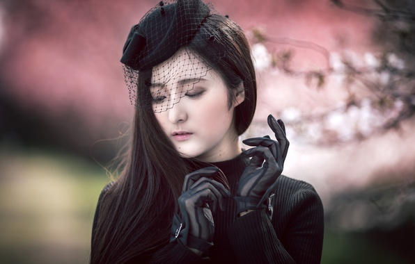 Picture girl, portrait, gloves, hat, Asian, veil, Misaki