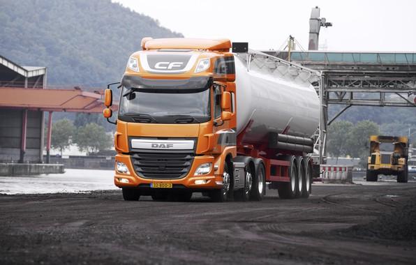 Picture road, orange, DAF, tank, tractor, DAF, dump truck, the trailer, 6x2, Euro6, DAF CF 440