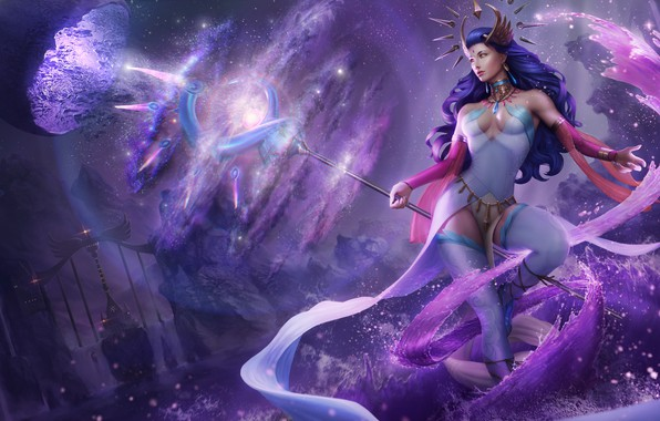 Picture girl, magic, hair, dress, art, hairstyle, beauty, MAG, staff, the wizard, Lana Solaris