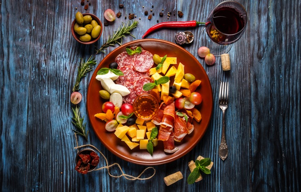 Picture wine, cheese, meat, vegetables, wood, sausage, cutting, bacon, spices, cuts, salami