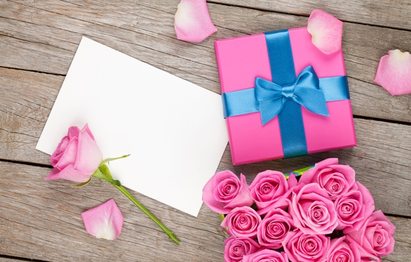 Picture love, box, gift, romance, roses, bouquet, petals, pink, bow, buds, Valentine's Day, gift, bouquet, roses, ...