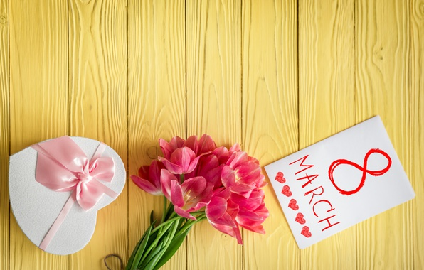 Picture holiday, gift, bouquet, tulips, March 8, postcard, ribbon pink