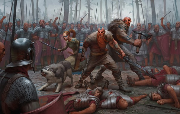 Picture forest, weapons, battle, warrior, armor, barbarian, Legionnaire