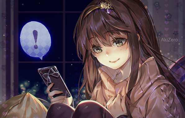 Picture night, girl, phone, sitting, in the room, art, message, sweater, bezel, AkiZero
