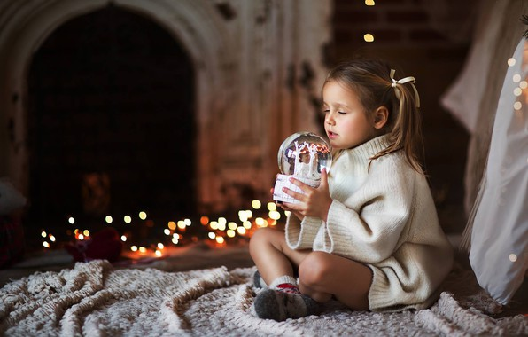 Picture mood, Christmas, girl, New year, sweater, glass globe