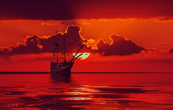 Picture sea, the sky, the sun, clouds, birds, ship, sailboat, horizon, glow, silhouettes, mast, 3D Graphics