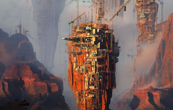 Picture tower, cranes, red valley, Tamas Medve