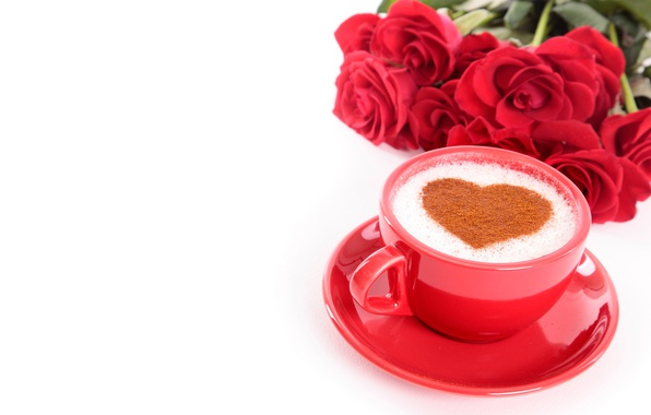 Picture flowers, coffee, roses, bouquet, Cup, red, white background, heart, Valentine's day, saucer