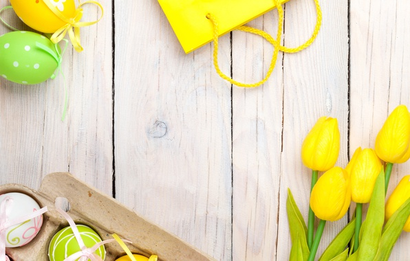 Picture Easter, tulips, yellow, wood, tulips, spring, Easter, eggs, decoration, Happy, tender, pastel
