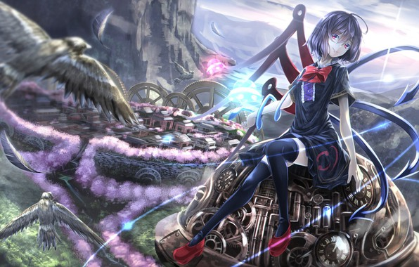 Picture girl, birds, the city, anime, art, touhou project
