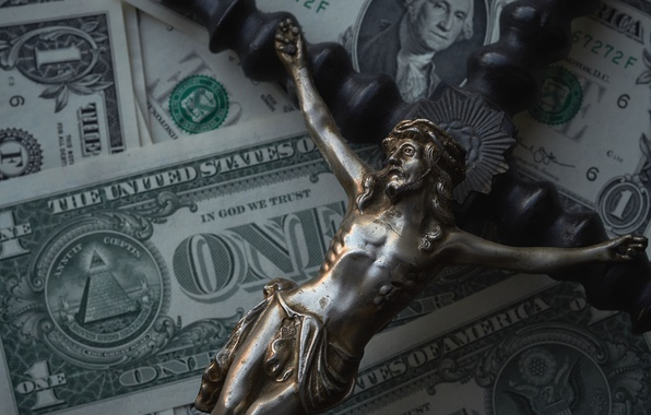 Picture meaning, money, dollars, faith, crucifix